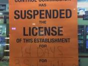 A sign posted on the door of a convenience store temporarily closed by the Michigan Liquor Control Commission for three sales of alcohol to minors. This store was actually CLOSED entirely, until the end of the 14 day suspension.