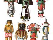 English: Drawings from an 1894 anthropology book of dolls (Tihus) representing kachinas, or spirits, made by the native Pueblo people of the Southwestern US. The dolls are made of carved cottonwood and traditionally given to children. The figures are iden