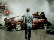 Lifehouse lead singer Jason Wade looks on the scene of a deadly car crash.