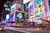 English: Broadway show billboards at the corner of 7th Avenue and West 47th Street in Times Square in New York City