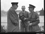 Count Felix Graf von Luckner with Brigadier-General C G N Miles at the Royal Military College in Duntroon, Canberra