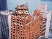 English: The Guardian Building in Detroit, Michigan, United States, is listed on the US National Register of Historic Places (NRHP) and is a designated National Historic Landmark. The Detroit River is seen in the background.