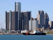 The Renaissance Center in downtown Detroit serves as the global headquarters of General Motors.