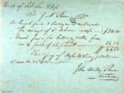 A receipt written by John Milton Shreve on December 20, 1835 concerning the wreck of the Texas schooner San Felipe.
