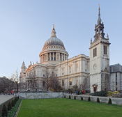 English: St Paul's Cathedral and the remaining tower of St Augustine, Watling Street, which was otherwise destroyed during World War 2. This is a HDR panoramic stitch, comprising 60 frames (3 exposures * 20 segments).