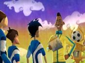 Pelé talks to the main character's team in the cartoon art style of the game.