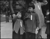 Hayward, California. Two children of the Mochida family who, with their parents are awaiting evacua . . . - NARA - 537506