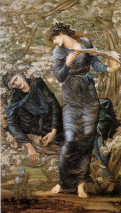 Painting - The Beguiling of Merlin, 1874, by Edward Burne Jones (1833-1898), oil on canvas, 73 1/4 x 43 3/4 in )186 x 11 cmm), signed E Burne Jones MDCCCLXXIV