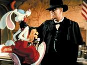 Judge Doom (Christopher Lloyd) threatens Roger Rabbit before introducing him to