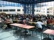 English: A cafeteria at Electronic City campus, Infosys Technologies Ltd., Bangalore, India. Date: December, 2003 Photo by User:Zondor. Category:Images of people