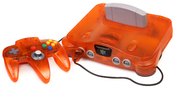 English: A Fire Orange N64, part of its Funtastic Series. Shown with matching controller and dummy cartridge.