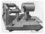 A Helmholtz resonator in an experimental tone generator designed by Hermann Helmholtz. The resonator is the cylindrical object (i). Most musical tones are composed of many frequencies, called harmonics. The purpose of this device was to generate a pure to