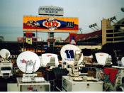 English: The Super Bowl XXXV broadcasting compound outside Raymond James Stadium in Tampa, Florida.