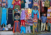 English: A clothes merchant in Porto, Portugal