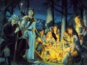 A copyrighted image of the painting used in 1992's Tales of the Lance boxed set, depicting numerous Dragonlance characters.