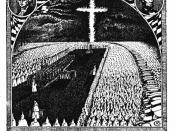 Open-air Initiation of K.K.K. under the Light of the Fiery Cross. From The Ku Klux Klan In Prophecy 1925.