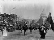 English: Members of the National American Women Suffrage Association, seeking the right to vote in elections, march down Pennsylvania Avenue NW in Washington, D.C., in the United States on March 3, 1913.