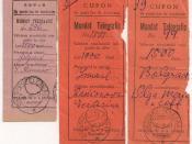 English: Romania Basarabia Chisinau telegraph money order counterfoils.