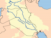 The Iran-Iraq border runs through the Tigris watershed (above), leaving the river in Iraqi hands.