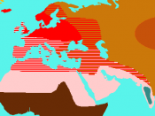map of the distribution of human races by Thomas Huxley, roughly drawn by me from On the Geographical Distribution of the Chief Modifications of Mankind, Journal of the Ethnological Society of London (1870) http://aleph0.clarku.edu/huxley/SM3/GeoDis.html