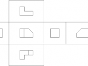 Image showing orthographic views located relative to each other in accordance with first-angle projection.