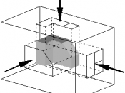 Views of an object being projected according to third-angle