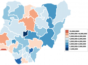 Map of Nigerian states by total population