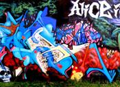 English: Graffiti production by FAB Family titled Alice In Atlantis