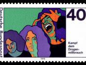 prevention an aid against drug addiction Deutsch: Kampf dem Drogenmissbrauch :*Ausgabepreis: 40 Pfennig :*First Day of Issue / Erstausgabetag: 14. August 1975 :*Michel-Katalog-Nr: 864
