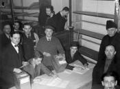 English: Counting the ballots in the 1938 by-election in the federal riding of St. Henri in Montreal, Quebec, Canada. Camillien Houde, running for the Conservatives, lost to Joseph Arsène Bonnier for the Liberals.