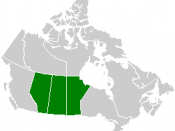 Map of the Prairie provinces in central Canada. The northern reach or the Great Plains of North America are found in these provinces. :*See Image:Canada provinces blank vide.png for additional information.