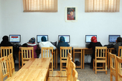Women using the internet in Herat, Afghanistan.