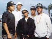 N.W.A (left to right): Ice Cube, Dr. Dre, Eazy-E, DJ Yella, MC Ren, circa 1988.