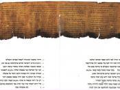 English: The Psalms scroll, one of the Dead Sea scrolls. Hebrew transcription included. English translation available here. Français : le rouleau des Psaumes, l'un des manuscrits de la mer Morte. Une transcription en hébreu moderne est incluse. Une traduc