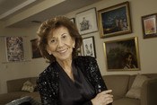 English: Portrait of Bette Greene in her Boston, MA home surrounded by original artwork inspired by her books.