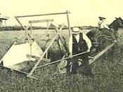 English: The Cyrus McCormick's reaper at the presentation in Virginia (USA), middle 19th century most likely