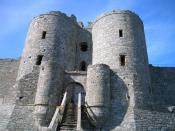 The main gatehouse of Harlech Castle. The steps were originally a drawbridge. As well as this formidably defended entrance, the castle also had a fortified dock so that it could be supplied by sea.