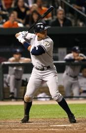 Alex Rodriguez bats in a game on April 19, 2008.