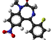 Ball-and-stick model of the flunitrazepam (Rohypnol) molecule, C 16 H 12 FN 3 O 3