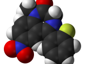 Space-filling model of the flunitrazepam (Rohypnol) molecule, C 16 H 12 FN 3 O 3