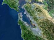 USGS Satellite photo of the San Francisco Bay Area. Light gray areas are heavily urbanized regions