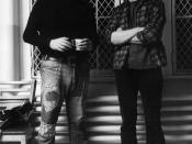 English: Bo Goldman (left) and Michael Douglas on the set of Milos Forman's