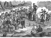 English: The crews of Blackbeard's and Vane's vessels carousing on the coast of Carolina.