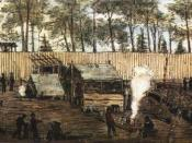Andersonville Prison. Drawing by Robert Knox Sneden made while a prisoner, with watercolors added by him after his freedom.