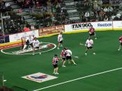English: The New York Titans defend against the Calgary Roughnecks during the 2009 NLL Championship game, in Calgary.