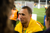 English: New Zealand-born Australian rugby union player Quade Cooper after Bronze Final against Wales at 2011 Rugby World Cup.