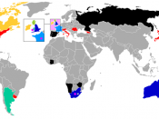 A map showing countries best results and host countries of the Rugby World Cup. Revised version summary: losing pool teams recoloured in black; Italy added and coloured red; British Isles redrawn in double scale inset; host dots doubled in size; host dot