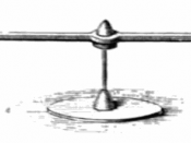Drawing of the 'versorium', the first electrical measuring instrument, a crude electroscope invented in 1600 by British scientist William Gilbert. It was a simple pivoted metal needle, like a compass but unmagnetized. The needle would be attracted to char