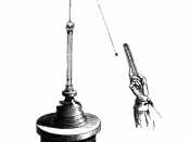 English: Drawing of a pith ball electroscope, invented 1754 by John Canton. The ball is shown attracted to an electrically charged object held in the hand.
