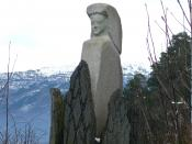 English: Witchmonument at Anda, in Gloppen, Norway. In memory of the Witch-hunt, and burning of women in the area